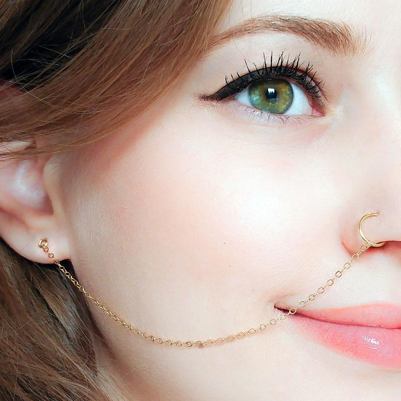 Ear Hook Nose Ring Body Jewelry Tassel Chain Link Nose Piercing Body Puncture