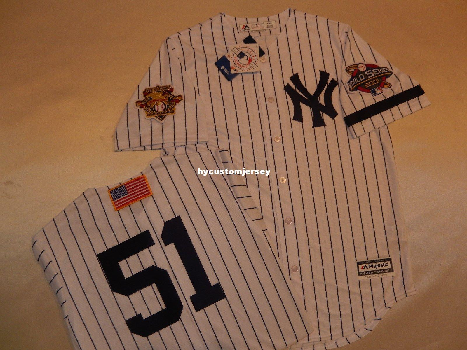 buy online 2a7a8 e9fdb Cheap custom New York #51 BERNIE WILLIAMS 2001 WORLD SERIES Baseball Jersey  WHITE Mens stitched jerseys Big And Tall SIZE XS-6XL For sale