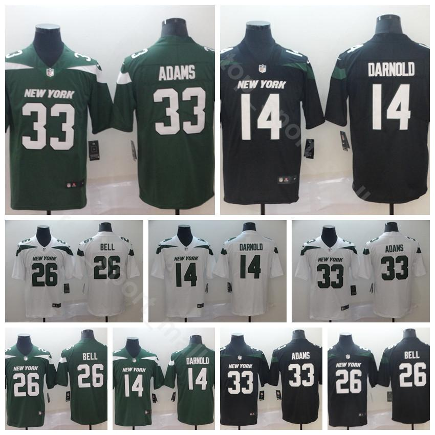 online retailer 69501 29f5e 2019 New York Football Jets 14 Sam Darnold Jersey 26 Le'Veon LeVeon Bell 33  Jamal Adams Stitched Black White Green Color Rush Limited High