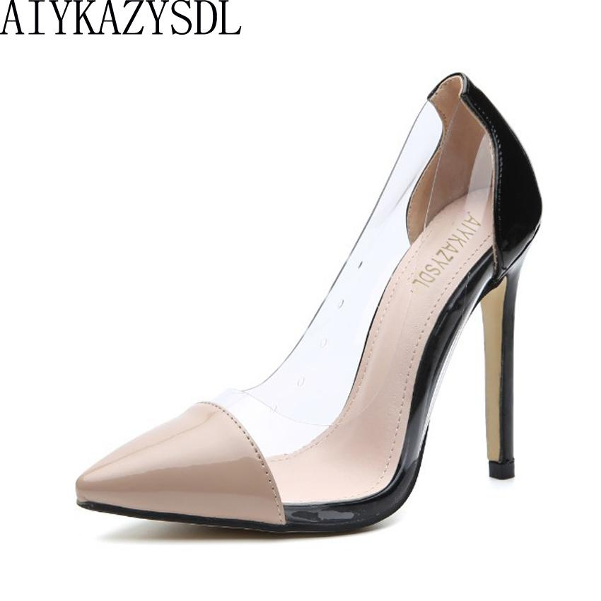 5db3025dae0a Dress Aiykazysdl Women Pumps Pointed Toe Pvc Transparent Clear Crystal High  Heels Patchwork Slip On Court Fetish Dress Shoes Stilettos Mens Boat Shoes  ...