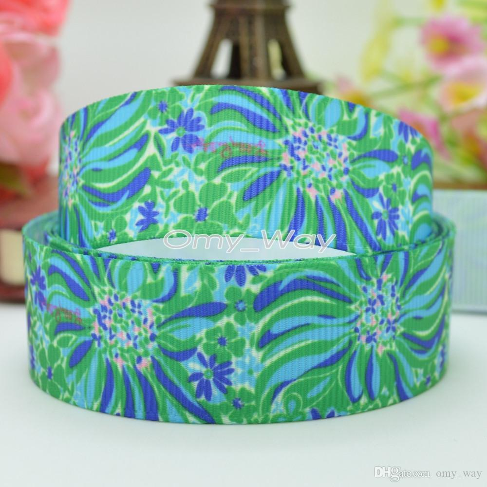 "Lilly Ribbons 7/8"" 22mm Printed Grosgrain Ribbon Hair Bow DIY Handmade Crafts Ribbon Print 50Yards C-2451"