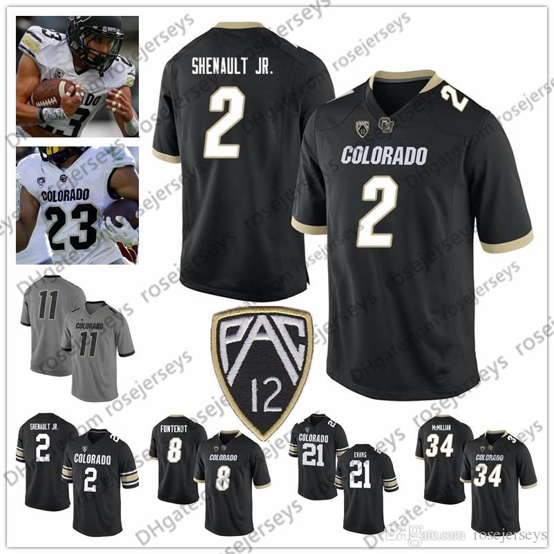 best sneakers 49356 51e48 NCAA Colorado Buffaloes #3 KD Nixon 18 Tony Brown 34 Travon 2 Laviska  Shenault Jr Kyle Evans Alex Fontenot Black Gray White Jersey