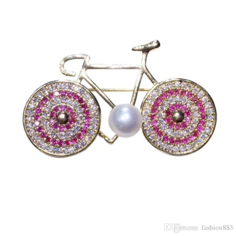 cf151dc1df3 Fashion kid's cute pink crystal bike Lapel Pin Badge Brooch rhinestone  Steampunk Bicycle Bike brooches and pins jewelry