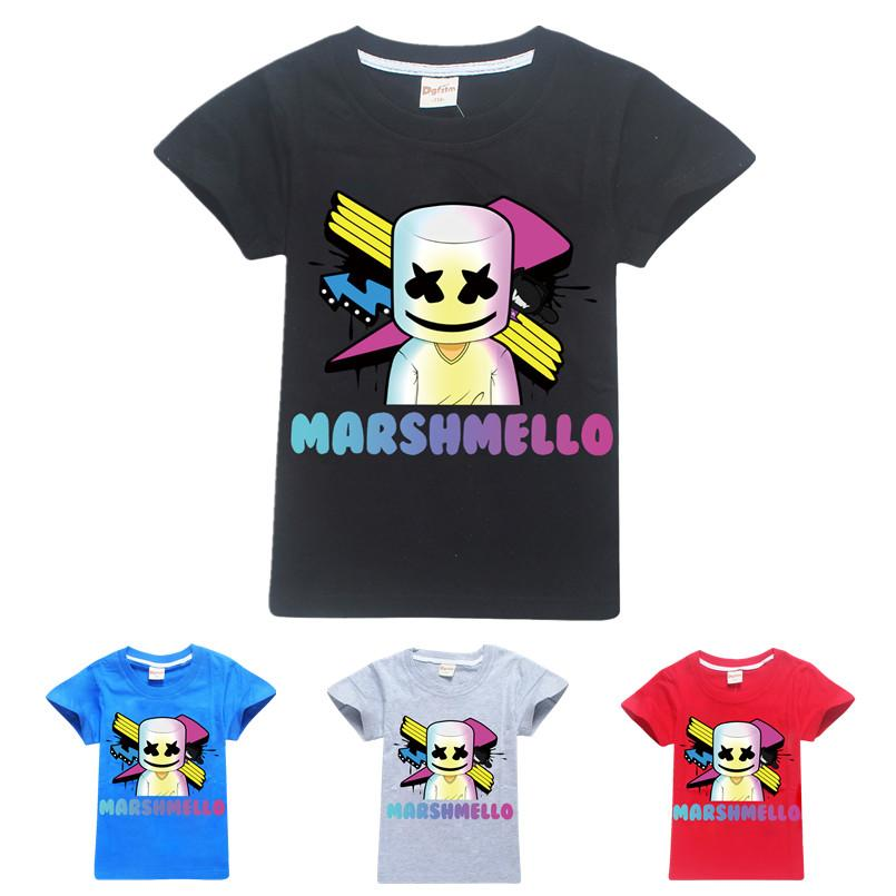 Marshmello Short Sleeves T-Shirts for Boys Dj Music T Shirt Kids Christmas Baby Girl Tops AAA1881