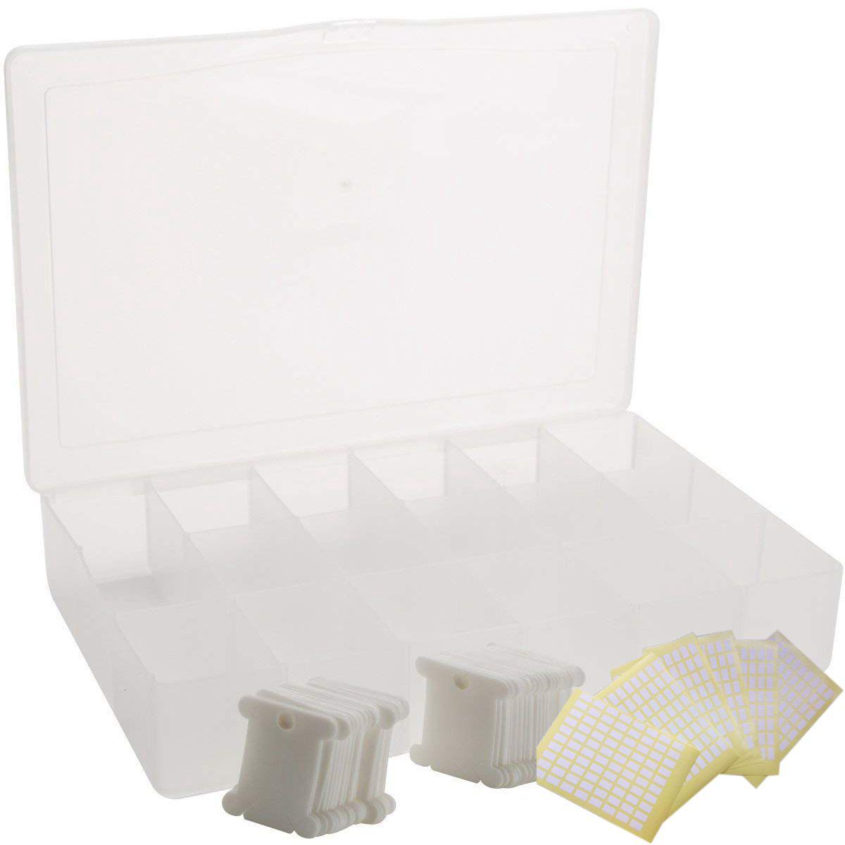 Embroidery Floss Organizer Box - 17 Compartments with 100 Hard Plastic Floss Bobbins and 480 Floss Number Stickers. Full Set