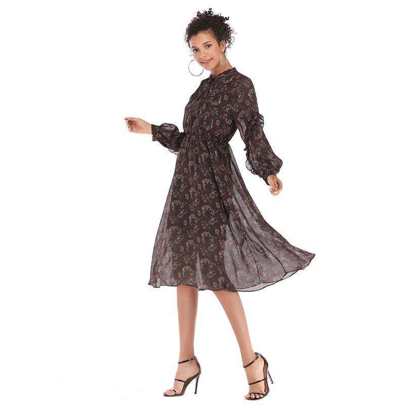 16ac1ace316ff Satın Al OMCHION Vestidos 2019 Bahar Yay Uzun Kollu Şifon Yaz Elbise  Kadınlar Casual Vintage Çiçekli Bölünmüş Ekose Parti Elbiseler LZ08, $52.46  | DHgate.