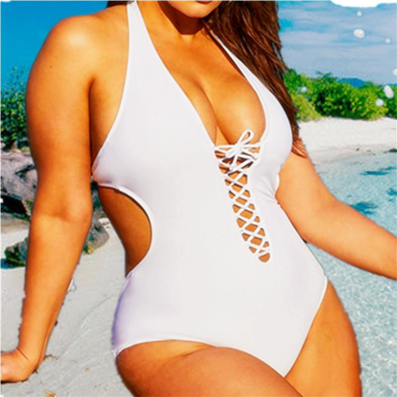 5Xl Plus Size Swimwear White Swimsuit 1 One Piece Bikini Onepiece Bathing Suits Black Deep V Women 2018 XXXL Big Rope String