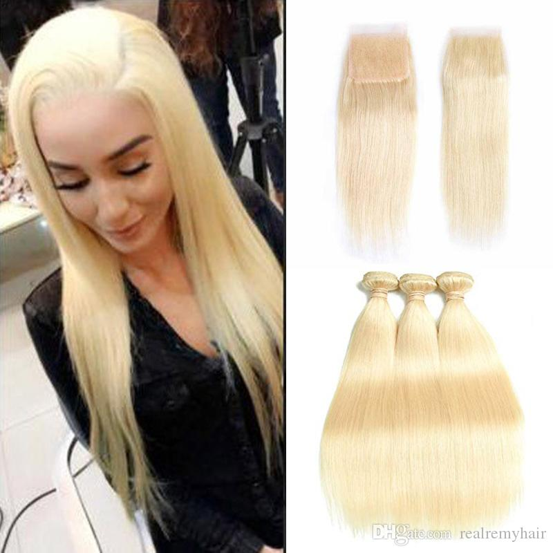 Brazilian Silk Straight Human Hair Weave Bundles with Closure 613 Blonde Virgin Hair 3 Bundles With Lace Closure Remy Hair Wholesale