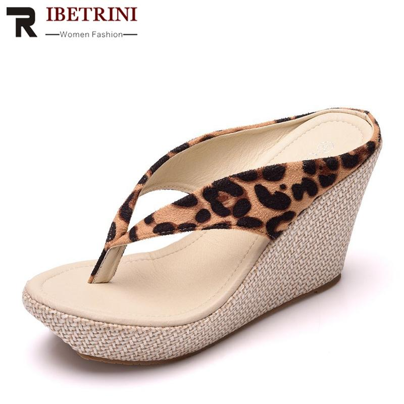 73a10bd93a RIBETRINI 2019 New Hot High Wedges Flip Flops Women Large Size 33 42 Ladies  Platform Slippers Straw High Heels Women Shoes Woman Red Shoes Moon Boots  From ...