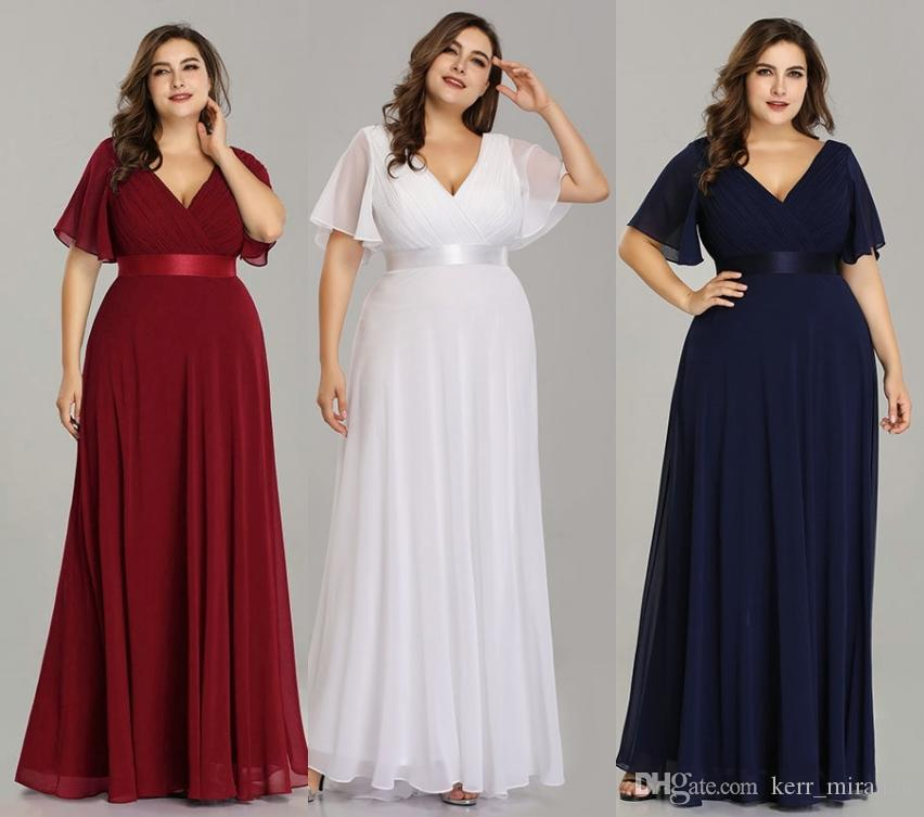 Plus Size Pink Prom Dresses Long Ever Pretty V-Neck Chiffon A-line Robe De  Soiree 2019 Navy Blue Formal Party Gowns For Women HY5030