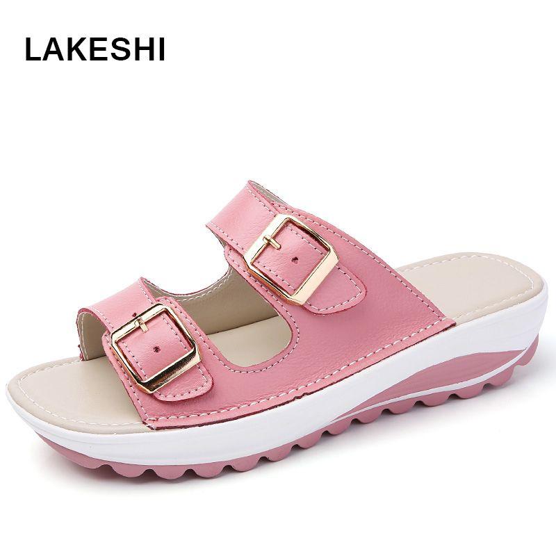 7709eed2 Compre Zapatillas Con Cuña Para Mujer Sandalias Con Plataforma Moda De Verano  Sandalias De Playa Zapatos De Mujer Con Punta Abierta Cómodos Tacón De Cuña  ...