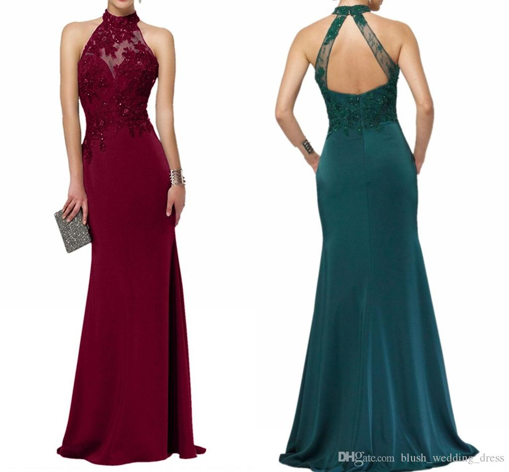 New High Quality Formal Evening Dresses Dark Green Elegance Halter Lace Sleeveless Backless Fishtail Prom Dresses DH142