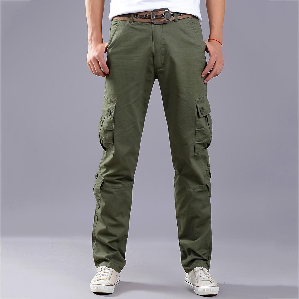 scarpe di separazione 88321 d7625 Men's fashion 2019 Multi-pocket Combat Zipper Cargo Waist Work Casual Pants  pantaloni uomo pantalon hombre solid trouser black