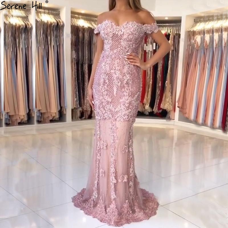 Off Shoulder Arabic Long Turkish Pink Lace Beaded Mermaid Formal Evening Prom Gown Lebanon Abiye Party Gowns Dresses