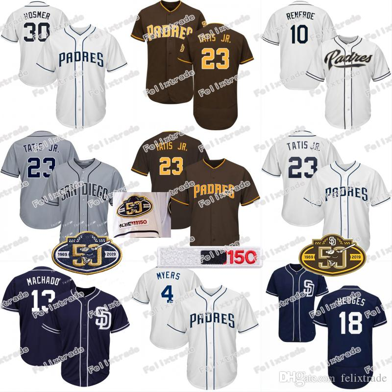 e17e5a756 2019 Padres Jersey 50th 150th Patch San Diego 23 Fernando Tatis Jr. 13  Manny Machado Eric Hosmer Wil Myers Hunter Renfroe Austin Hedges Margot  From ...