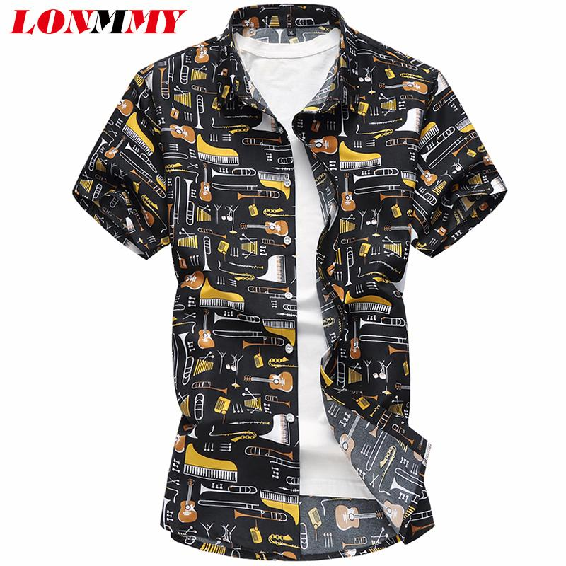 LONMMY 6XL 7XL Floral mens shirts blouses Casual Guitar pattern Punk style Short sleeve Flower shirts men clothes 2018 SummerMX190829
