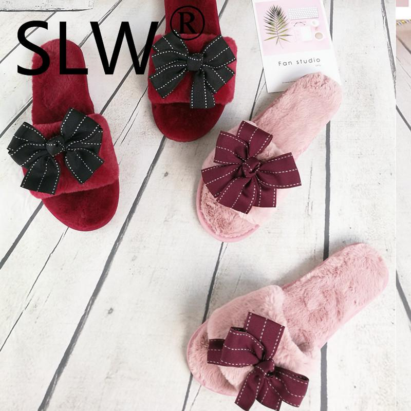 korean style butterfly-knot floor slippers woman striped bow slides flat heel wool flip flops ladies mules shoes indoor shoes