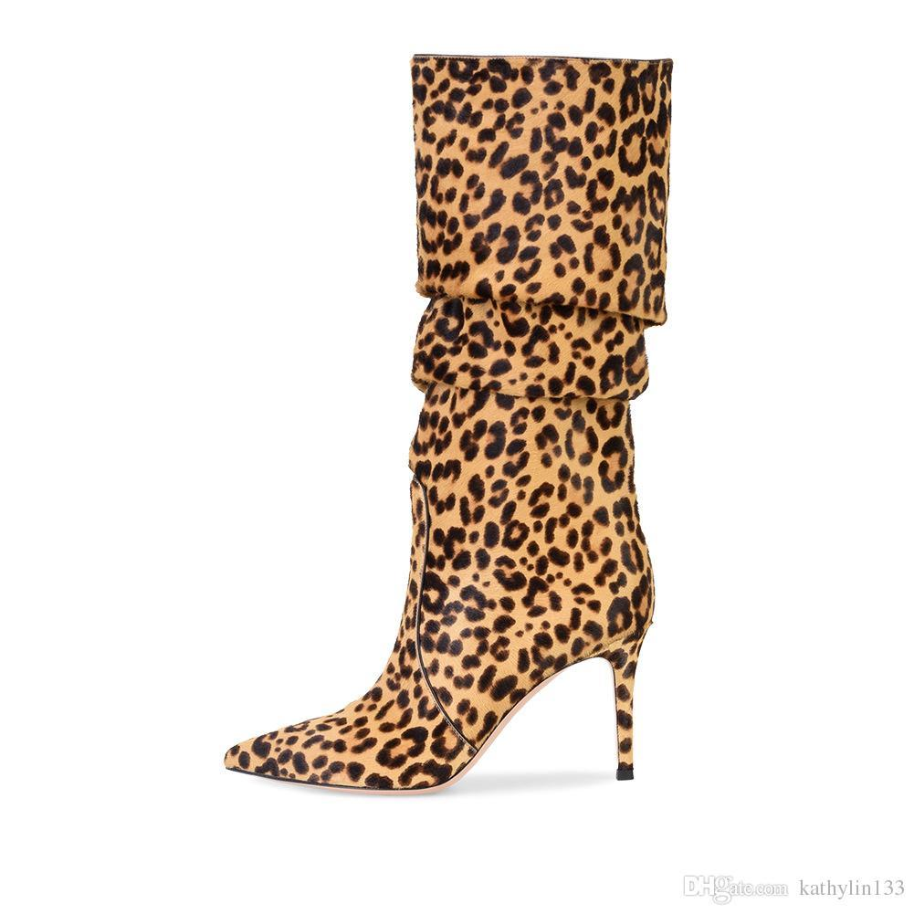 188913a0ed 2018 New Fashion Sexy Leopard Print Brown White Pink Pointed Toe Super High  Heels Ankle Boots Winter Women Shoes Lady Party Boots Free Shipp Platform  Boots ...