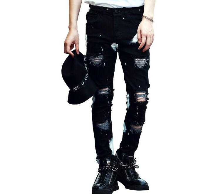 Nuovi Acquista Slim Jeans Da Neri Uomo Skinny Stretch Strappati thsrdCBQx