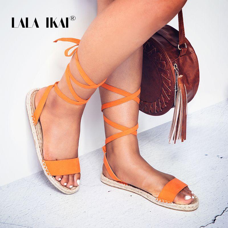 716a163951f Compre LALA IKAI Alpargatas Sandalias De Moda Plana Sólida Roma Cruz Correa  Mujeres Sandalias Dedo Del Pie Abierto Femme Zapatos Mujer 014A1691 49 A   25.82 ...