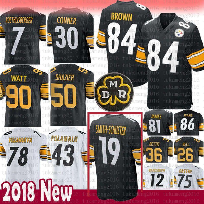 best loved 09867 13464 Pittsburgh 84 Antonio Brown Steelers 19 Juju Smith-Schuster Jersey 90 T.J.  Watt 30 James Conner 43 Troy Polamalu 78 Villanueva 7 36 Bettis