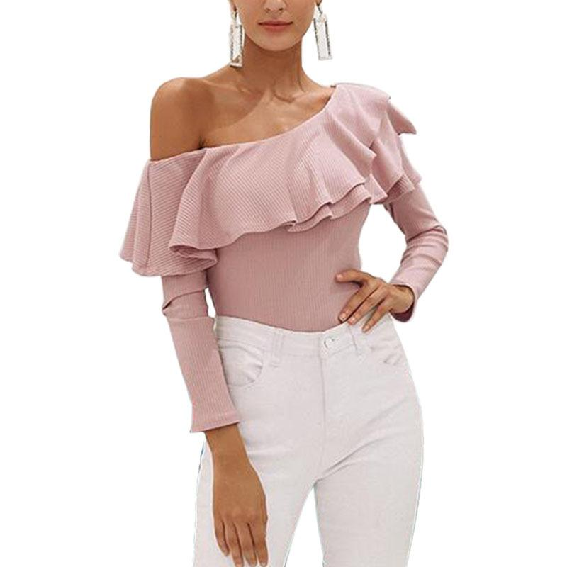 c73cb607d71 2019 One Shoulder Ruffles Blouse Shirt Women Sexy Slim Long Sleeve Tops  Knitted Casual Cotton Blusas New Fashion Women Autumn From Dh_powerseller,  ...