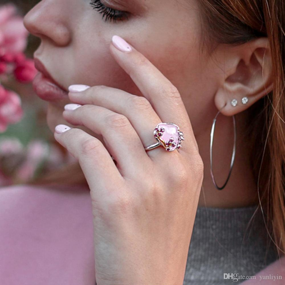 2019 fashion womens ring big pink flower Luxury jewellery delivery fast best birthday gift for girlfriend beautiful rings