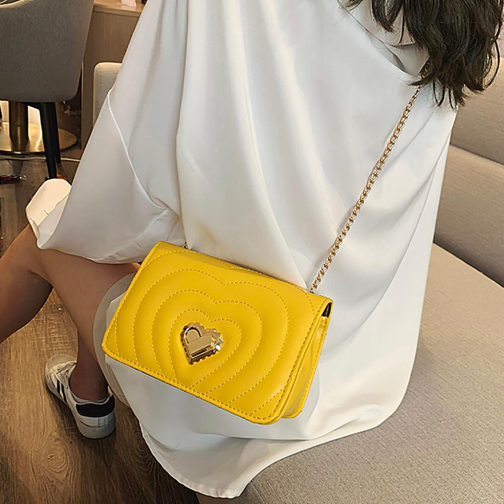 Love Striped Women Leather Handbag 2019 Fashion Chain PU leather Crossbody Bag Shoulder Bag Ladies Phone Coin bolso mujer
