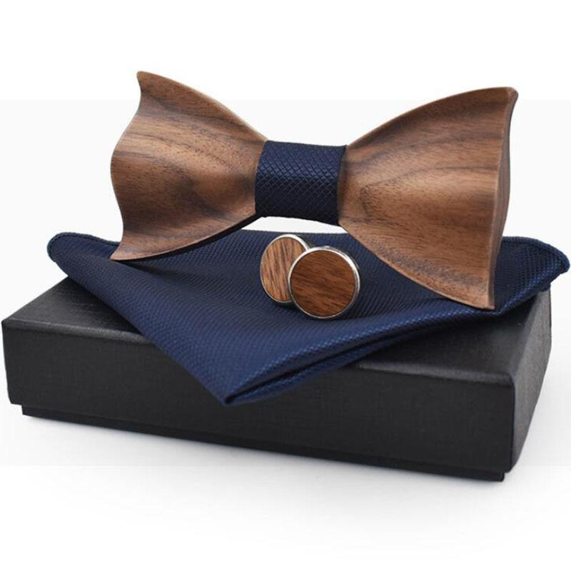 04698c7ef69e Rbocott Handmade Wooden Bow Tie Handkerchief Cufflinks Set Men's 3d Bow Tie  Wood Pocket Square With Box Fashion For Men Wedding C19022301
