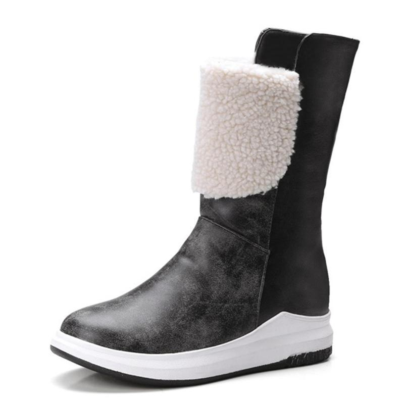 891fc175c5f 2018 New Mixed Colors Wedge Boots Round Toe Booties Platform Casual Concise  Snow Boots Women Fashion Warm Women Ankle 4cm Boots Uk Winter Boots From ...
