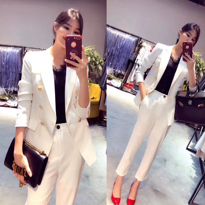 New Professional Business Work Suits With 2 Piece Jackets + Pants For Ladies Office Blazers Outfits Female Trousers Sets