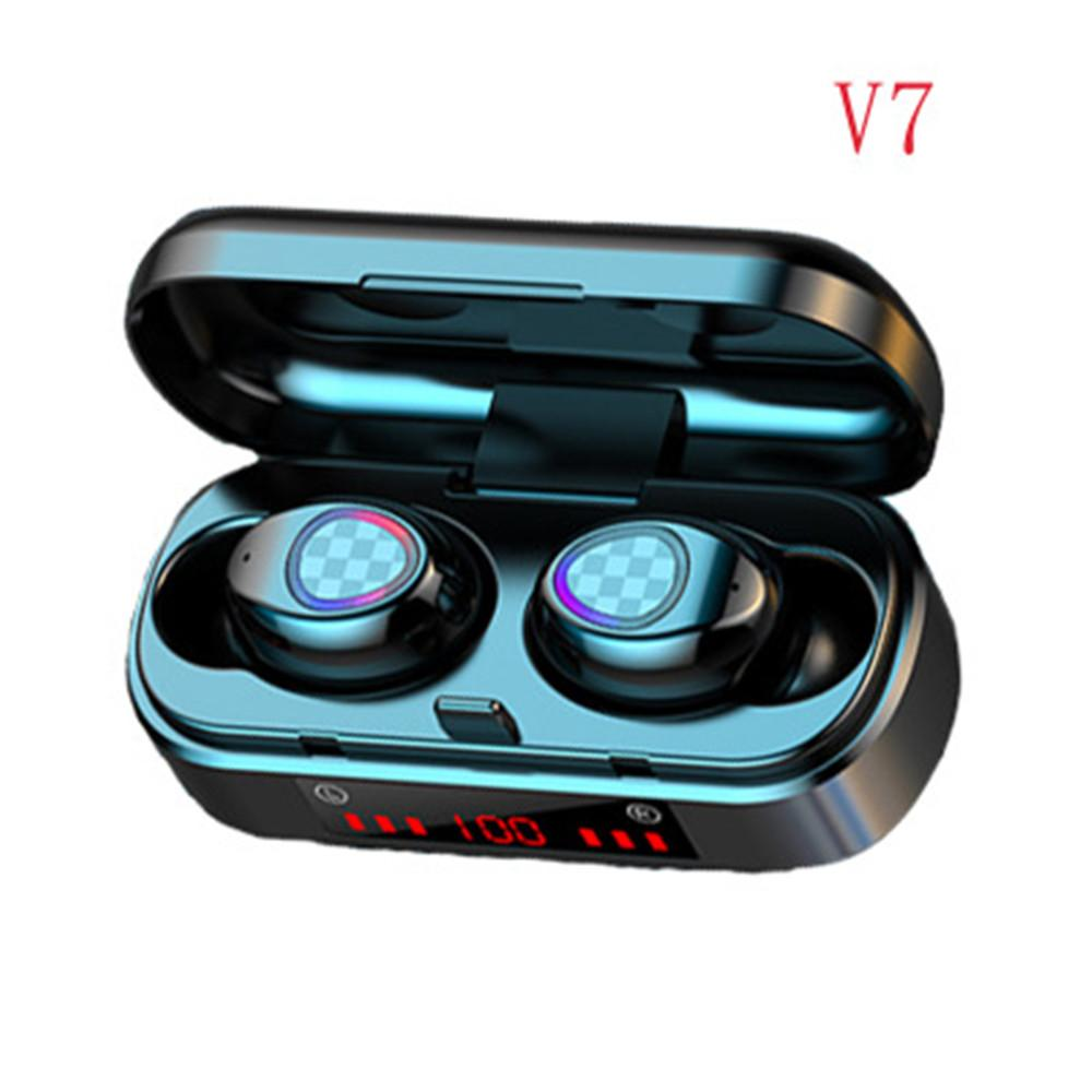 V7 TWS Bluetooth Earphone Wireless Bluetooth 5.0 Headphone Touch Headset Sport Waterproof 3D Stereo Sound Sport LED Earbuds Wholesale