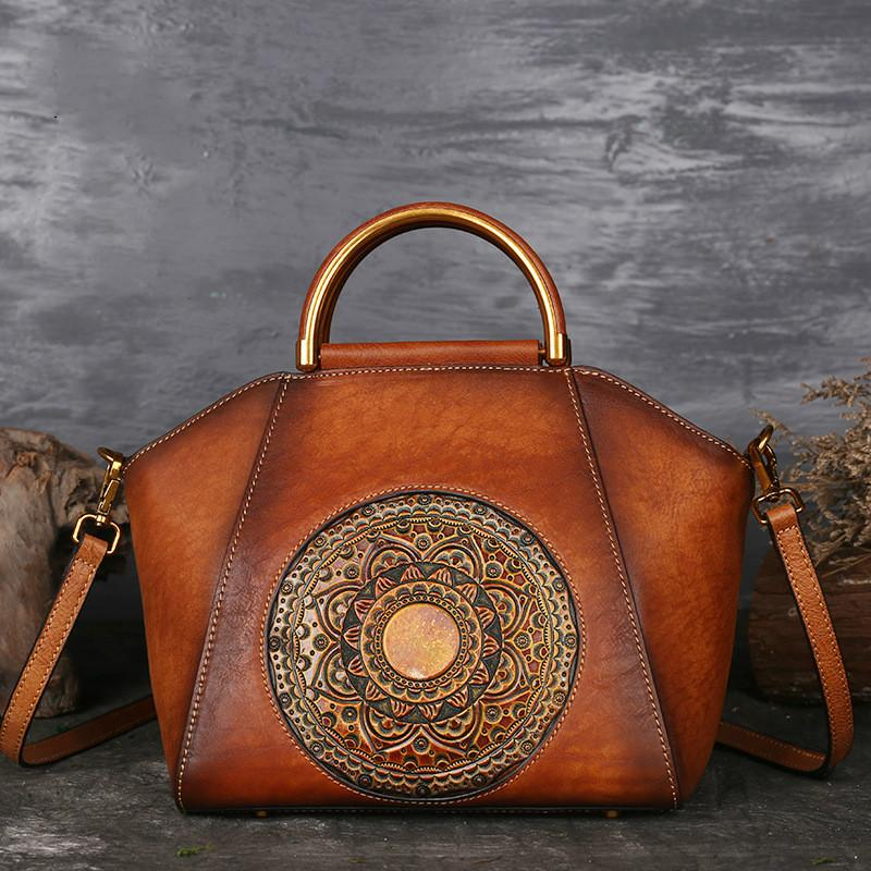 8460c3478457 Luxury Women Genuine Leather Handbags Ladies Retro Elegant Shoulder  Messenger Bag Cow Leather Handmade Womans Bags