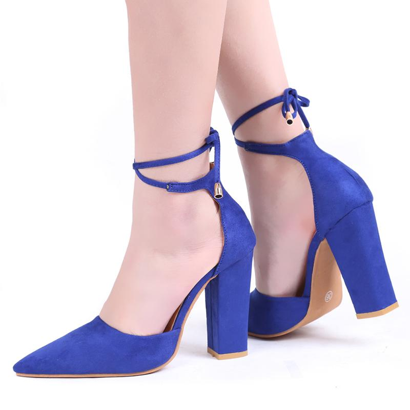 2c6620a68a Dress Shoes Pointed Strappy Pumps 2019 New Woman Female Lace Up Sexy Retro  High Thick Heels Boat Shoes For Men Navy Shoes From Deal3, $30.66|  DHgate.Com