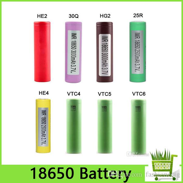 Top Quality HG2 30Q VTC6 3000mAh INR18650 25R HE2 HE4 2500mAh VTC5 2600mAh VTC4 18650 Battery E Cig Mod Rechargeable Li-ion Cell EC002