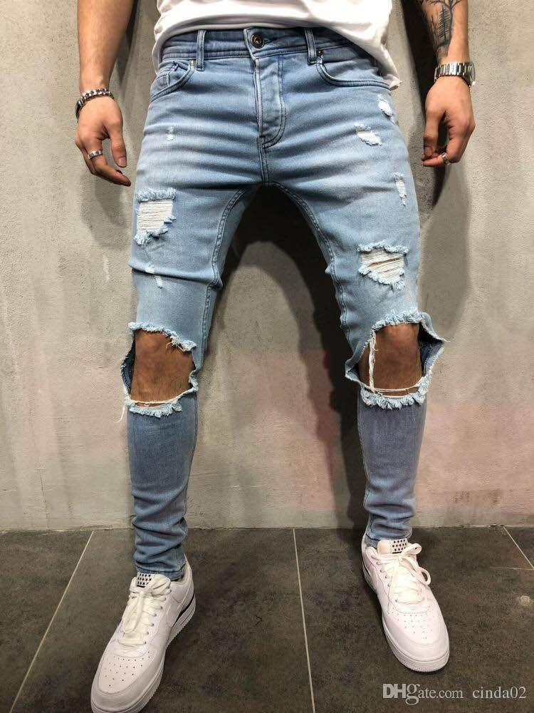 8716e04561c3 Acquista Abbigliamento Uomo Nuovi Pantaloni Firmati Jeans Strappati Da Uomo  Slim Denim Straight Skinny Jeans Skinny Jeans Strappati A $43.73 Dal  Forseason ...