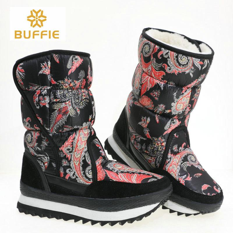 7c4c0a84 Warm shoes female 2018 new style design boots winter snowboot printing  nylon upper cow suede leather binding plus size free ship