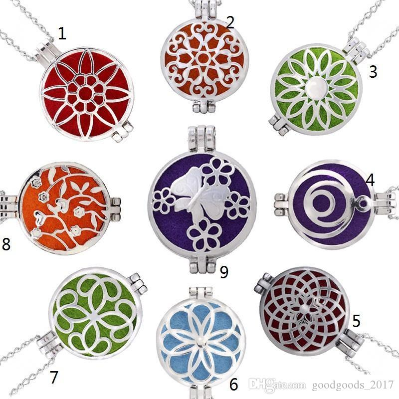 Premium Aromatherapy Essential Oil Diffuser Necklace Locket Pendant alloy Jewelry with 70cm Chain and 7 Washable Pads K452