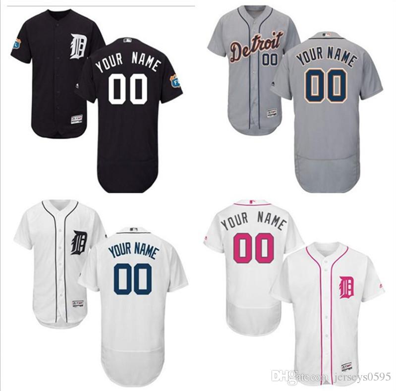 timeless design 69840 027e8 2018 custom Men s women youth Majestic Detroit Tigers Jersey Any Your name  and your number Home Blue Grey White Kids Girls Baseball Jerseys