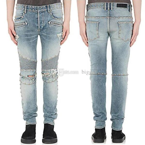 Compre Remaches Pernos Remiendos Biker Jeans Hombres Slim Fit Motocicleta Jeans  Hombres Vintage Distimido Denim Jean Pantalones A  39.6 Del Bigget  91f280e564ef