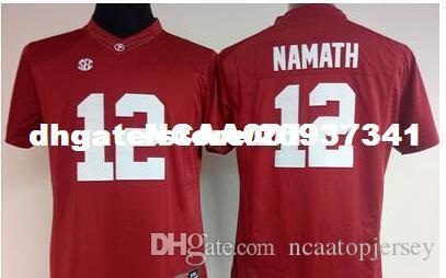 wholesale dealer ca8c5 f2ece Cheap Men #12 Joe Namath Alabama Crimson Tide Top high quality red black  white College Jersey or custom any name or number jersey
