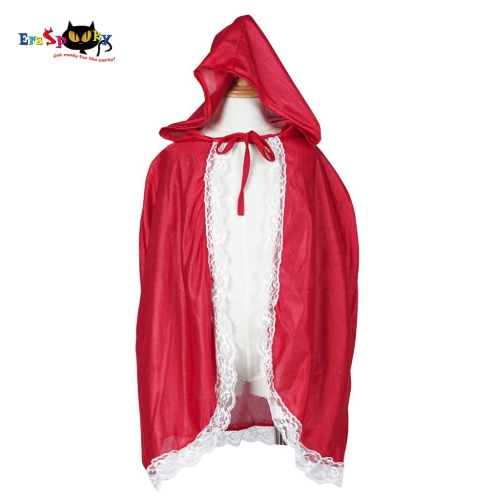 cosplay cape Little Red Riding Hood Costume Girls Red Cap Cloak Children Anime Cosplay Cape Clothing for Kids with Lace Carnival Halloween
