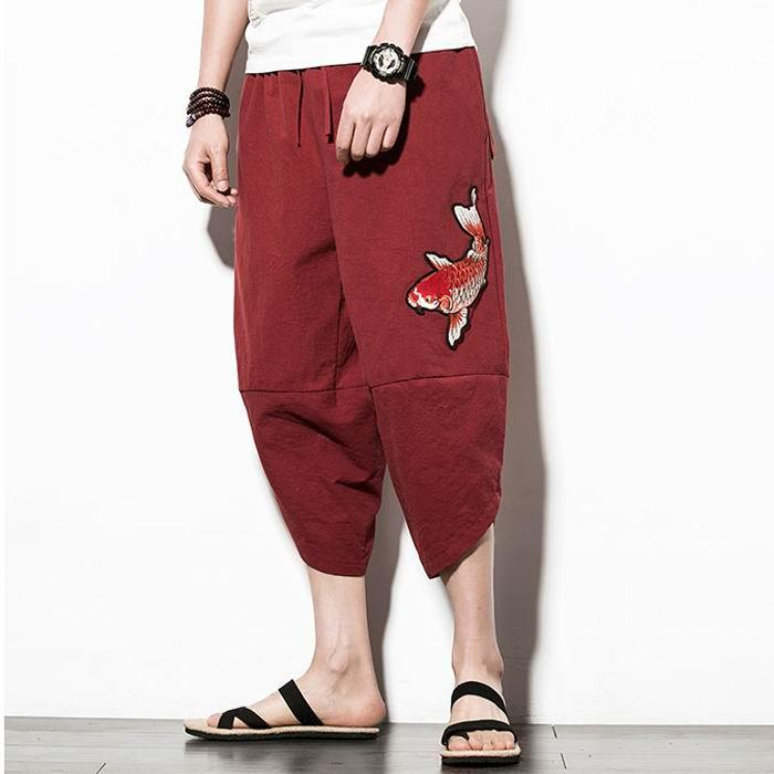 2018 New Chinese Embroidery Wide Leg Casual Pants Men Joggers Mens Pant Pantalon Homme Hip Hop Trousers Men pantalon hombre