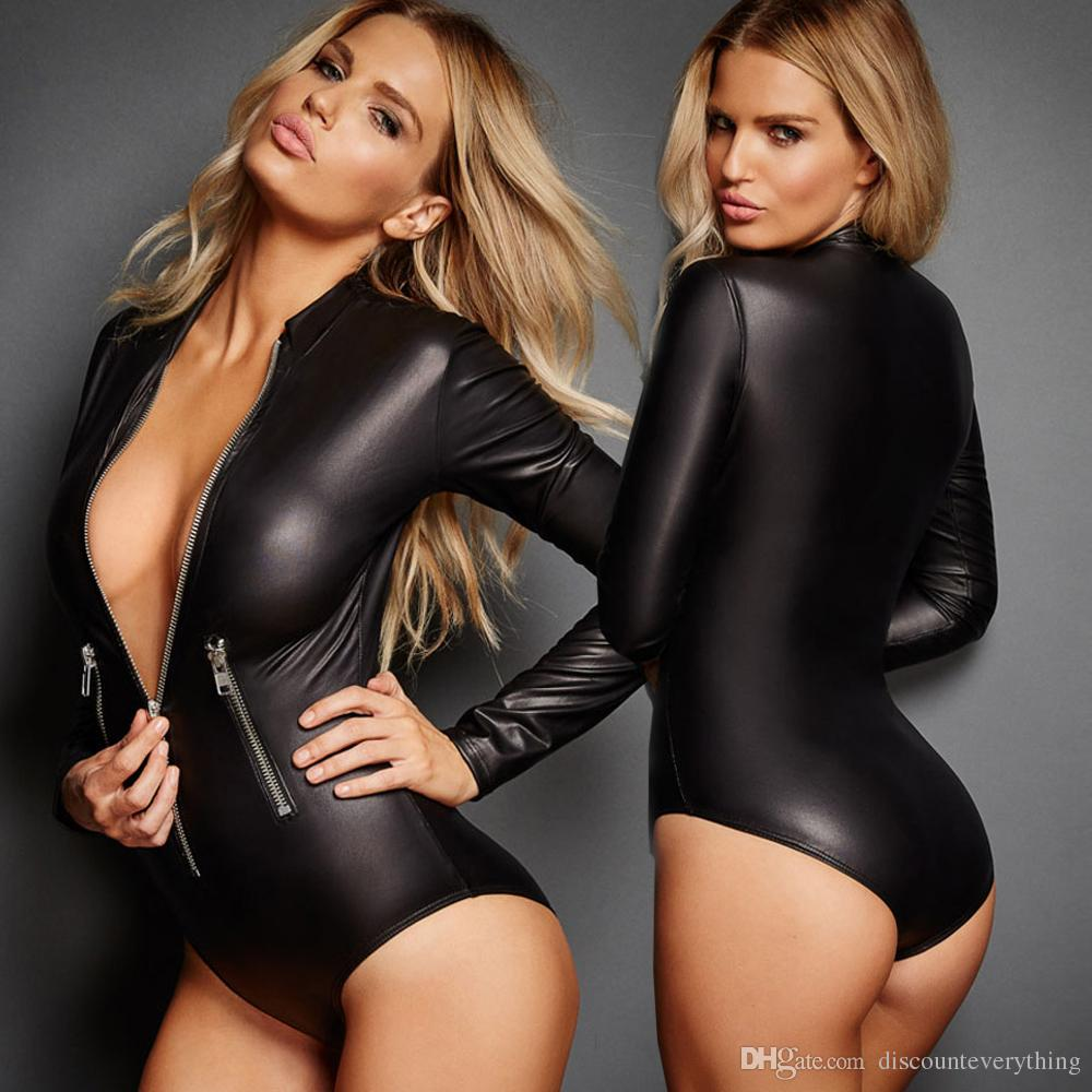 Women Sexy Lingerie PU Jumpsuits Mini Shorts Bodycon Costume Leather Long Sleeve Girls Sexy Black Hot Bodysuit