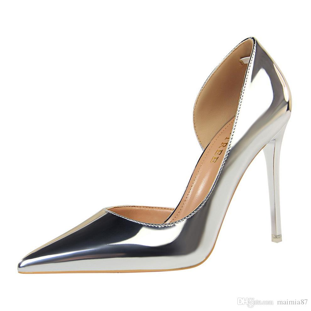 eeada5a558d Plus Size US4 12 New Women Pumps Beautiful Lady Dress Shoes Side Open  Patent Leather Design Pointed Toe Stiletto Heels Sexy Party Shoes Brown  Dress Shoes ...