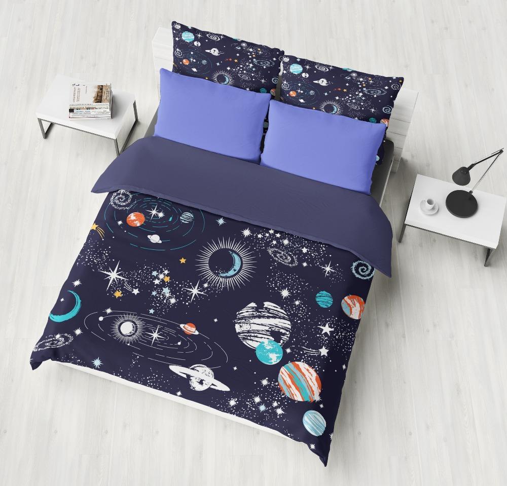 Funda Nordica Espacio.Conjuntos De Ropa De Cama Cosmos Del Espacio Azul Profundo Dormitorio Comodo Hogar Suave Edredon De Textil Edredon Funda De Almohada Fundas De