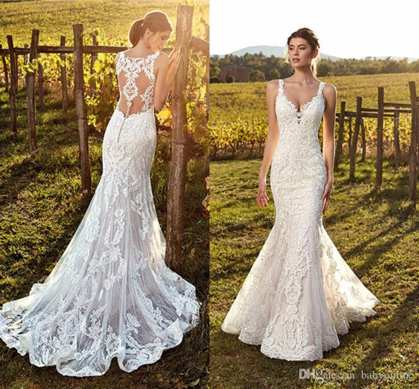 b17064708d90 Romantic Lace Mermaid Wedding Dresses For Country Garden Boho Weddings Sexy  Sheer Backless Appliques Long Bridal Vestidos Gowns Wedding Lace Beach  Wedding ...