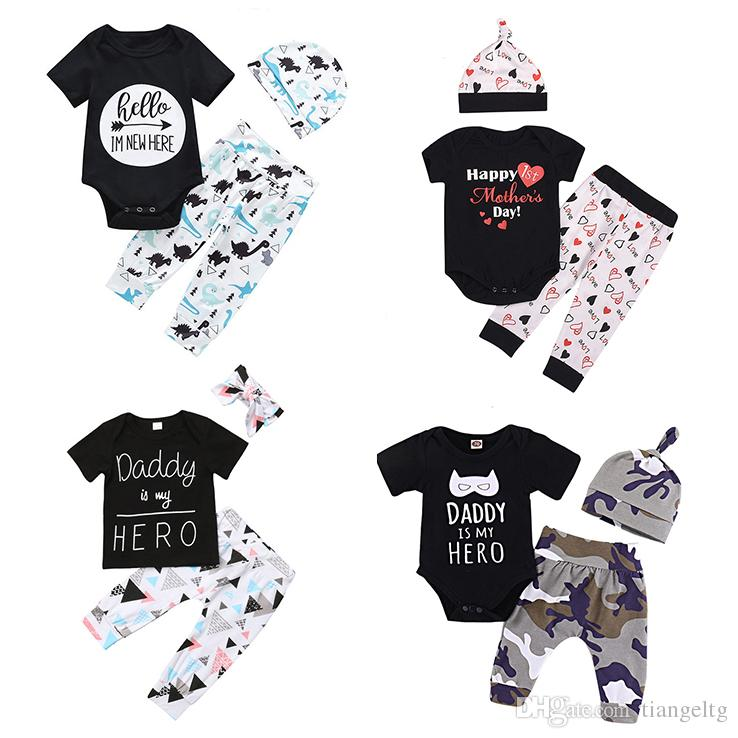 3c537dabb73 2019 Baby Dinosaur Unicorn Outfits 36 Designs Mother Father Day Rainbow Baby  Bears Tent Camouflage Floral Boys Girls Infant Romper Pants Caps From  Tiangeltg ...