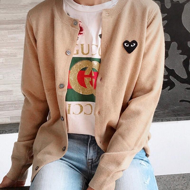 Fashion Love Embroidery Cardigans Casual O-neck Long Sleeve Knitted Coats Autumn Winter Solid Jumper Outwear Femme Coat Plus 2XL T191021