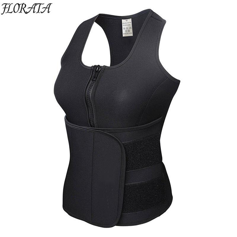 c139522c23 2019 FLORATA New Vest Body Shaper Slimming Waist Trimmer Trainer Belt Women  Shapewear Weight Loss Neoprene Sauna Tank Top Sweat Belt From Denling